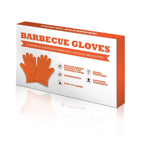 "Amazon products with a design box with the product's name and its label produced by Virtuous Graphics. The name of the product is ""BARBECUE GLOVES"" then below it is a ribbon which is color orange then written ""SUPREME SILICON HEAT-RESISTANT GRILLING BBQ GLOVES""."
