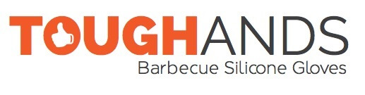 "A logo creation made by Virtuous Graphics which is all text. The upper part in the center is ""TOUGHANDS"" and below it is ""Barbecue Silicone Gloves"". The font color of ""TOUGH"" is orange and the rest is black in white background."