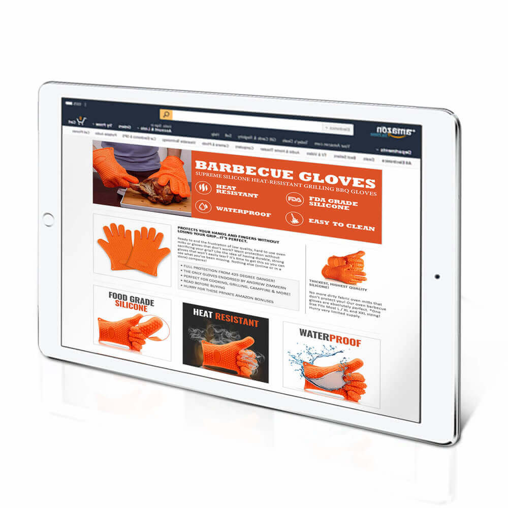 An orange barbecue gloves which were design by Virtuous Graphics for Online Graphic Design Services. It has the description of the orange gloves and its benefits.