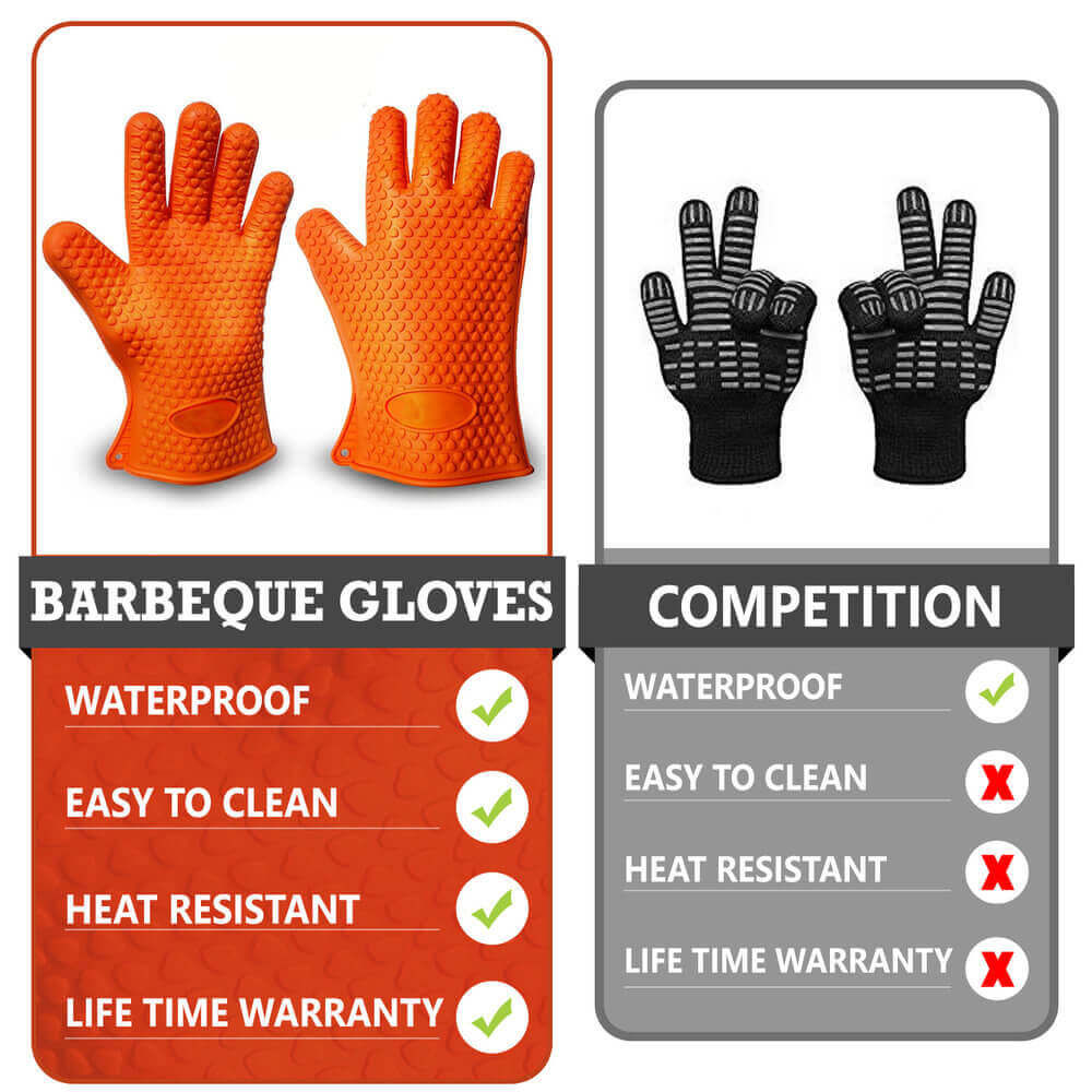 "A graphic design made by Virtuous Graphics of 2 sets of gloves which is an orange one and a black one. The first set is the orange gloves located at the left side then below it is a text ""BARBEQUE GLOVES"" then below it is ""WATERPROOF ""EASY TO CLEAN"" ""HEAT RESISTANT"" ""LIFE TIME WARRANTY"". The second set of gloves is located at the right side then below is the text ""COMPETITION"" ""WATERPROOF"" ""EASY TO CLEAN"" ""HEAT RESISTANT"" and ""LIFE TIME WARRANTY""."