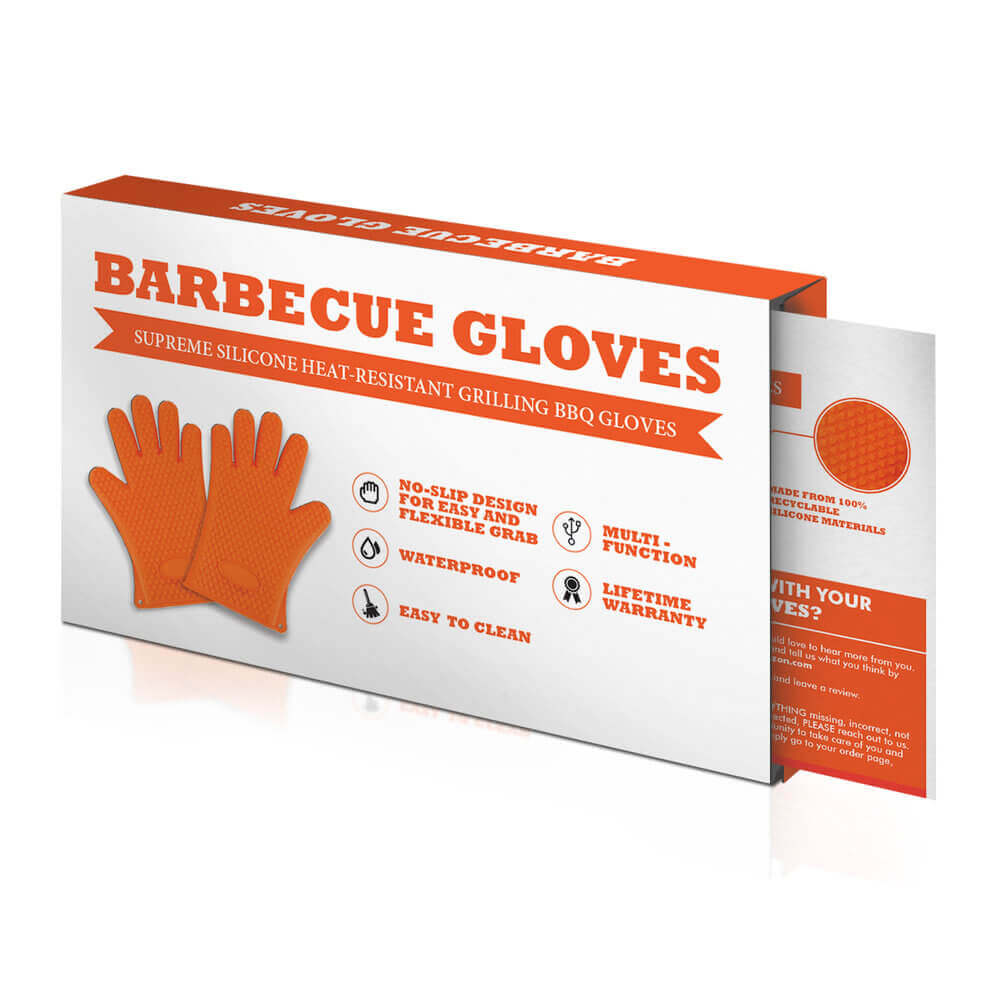"A box design by Virtuous Graphics for Amazon graphic design with the product's name and its label. The name of the product is ""BARBECUE GLOVES"" then below it is a ribbon which is color orange then written ""SUPREME SILICON HEAT-RESISTANT GRILLING BBQ GLOVES"". In the lower left is the product itself which is the orange gloves and in the lower right is the characteristics in it."