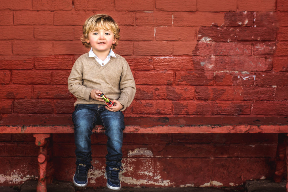 Little boy with train - Autumn Photo shoot in Paisley