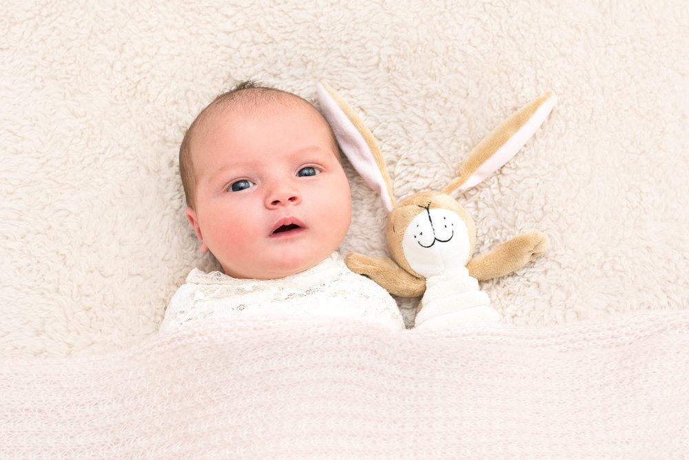 baby girl awake with bunny - baby photos glasgow