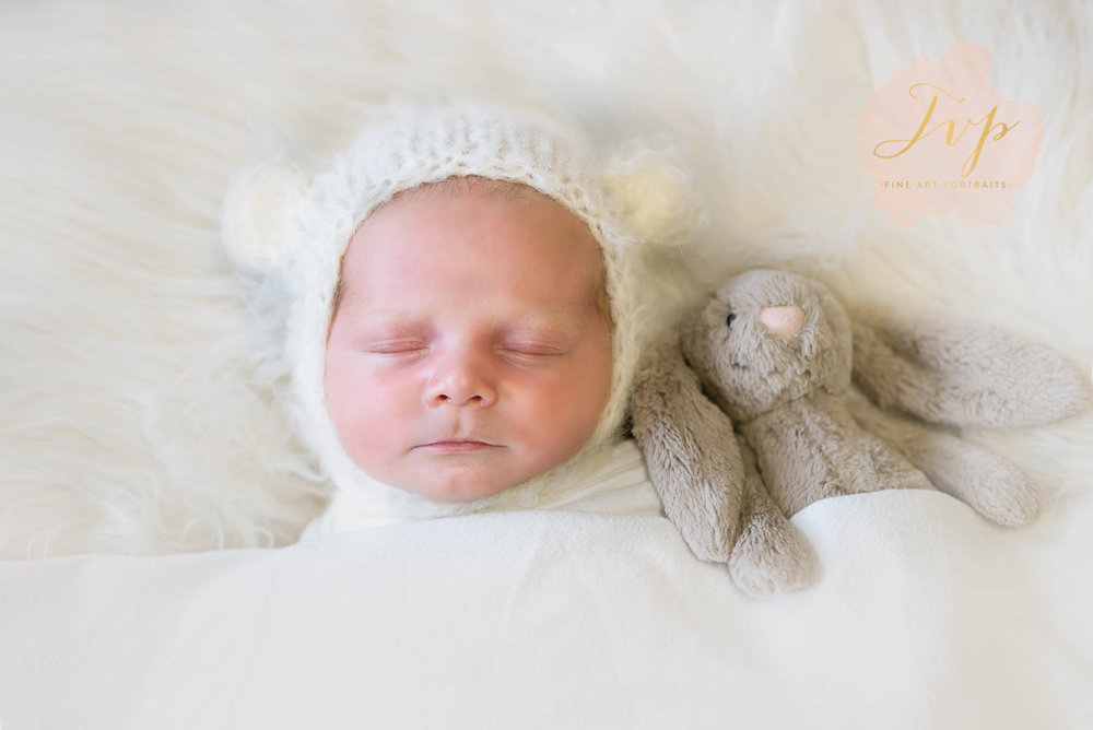 sleeping baby with bunny baby photographer glasgow