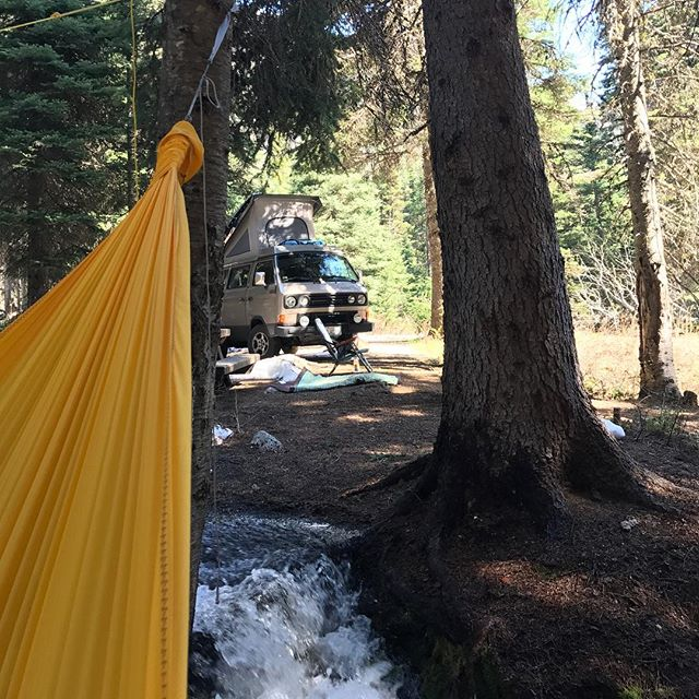 Perfect trifecta, hammock, camping next to a stream and a syncro. #getoverland #syncro #vanagon #northwestisbest #pnw #pnwonderland #slowlife #overlandhammock #camping