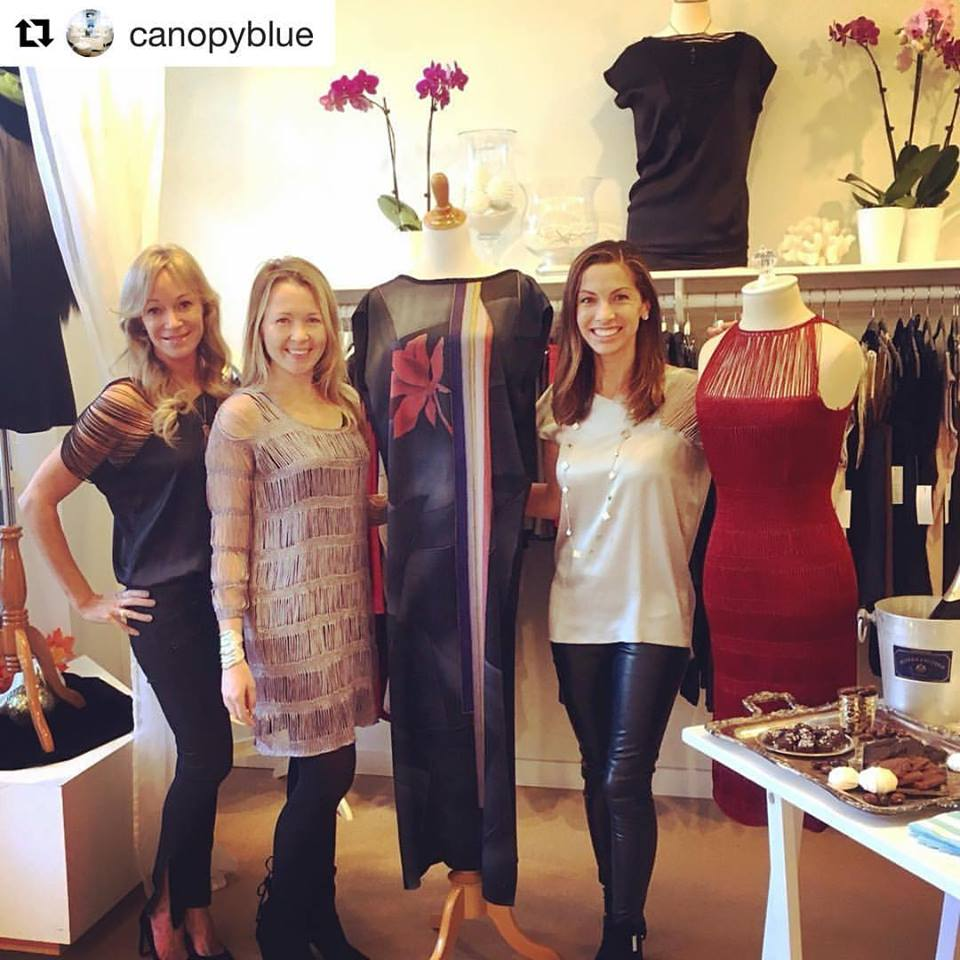 Always such a pleasure working with wonderful Canopy Blue team! Here with Dani Ackerly (owner of Canopy Blue) and Kristin Lear (merchandiser). Both Dani and Kristin are wearing MOD Knit Shoulder tops in Silver and in Black.
