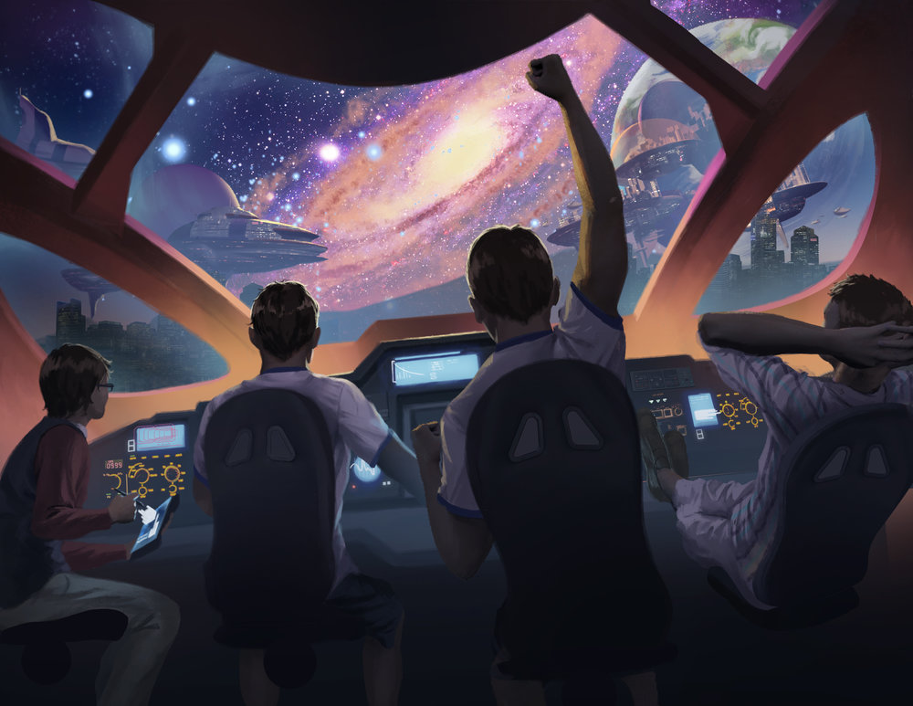 Teenage Interstellar Explorers by  Steve Stark.   https://i-stark.com/illustration/   An image inspired by a Kickstarter Backer.