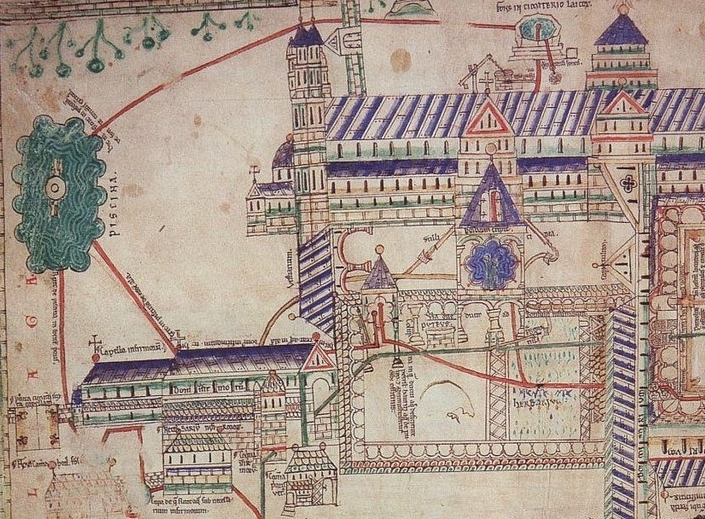 Waterworks at Christ Church Canterbury c.1150, Eadwine Psalter f.281r, Trinity College Cambridge