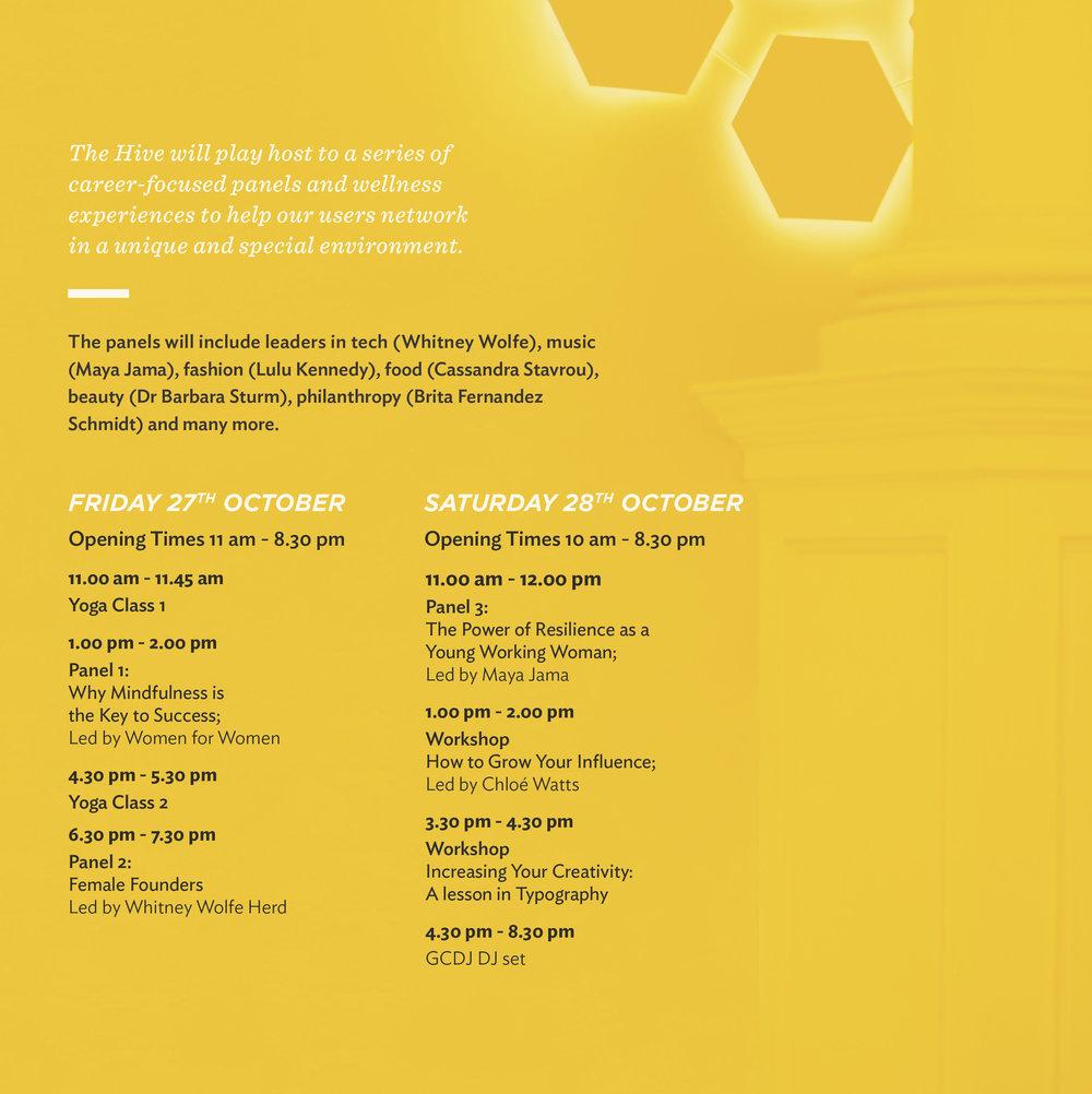 The Hive London Timetable