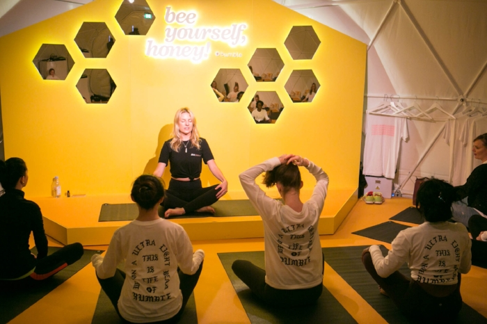 The first day of The Hive opened with a guided yoga class.