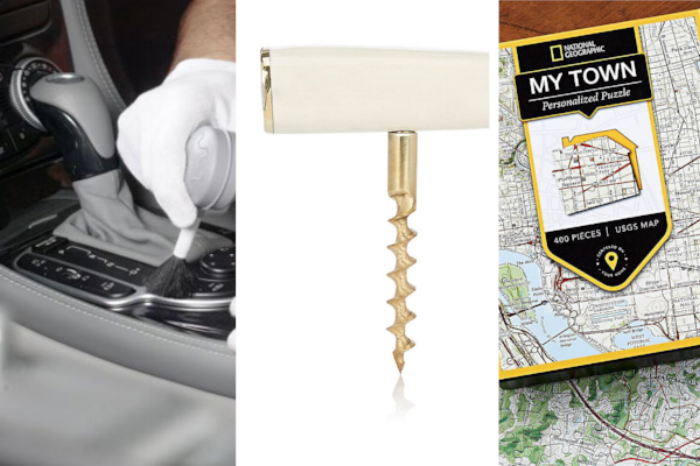 "Car Detailing  (price upon request),  Poglia Brass Corkscrew  ($175),  National Geographic ""My Town"" Custom Map Puzzle  ($39.95)"