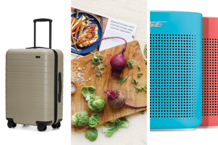 Away Suitcase  ($245),  Sun Basket Meal Delivery Service  (from $20),  Bose Bluetooth Speakers  ($129.95)