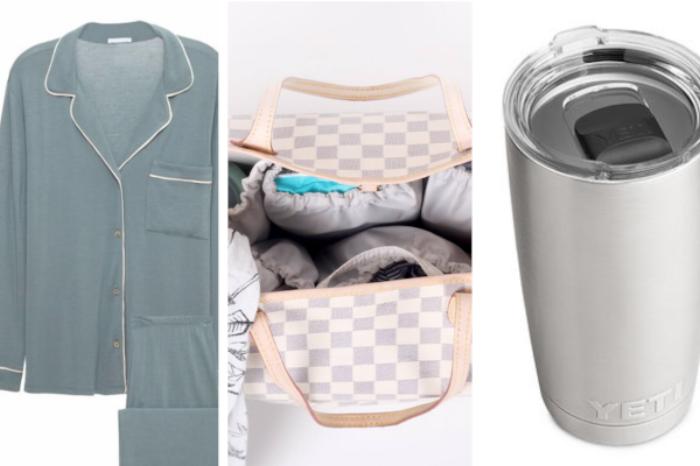 Eberjey Gisele PJ Set  ($120), Life in Play Totesavvy Diaper Bag Insert  ($74.99), Yeti Rambler Tambler  ($29.99)