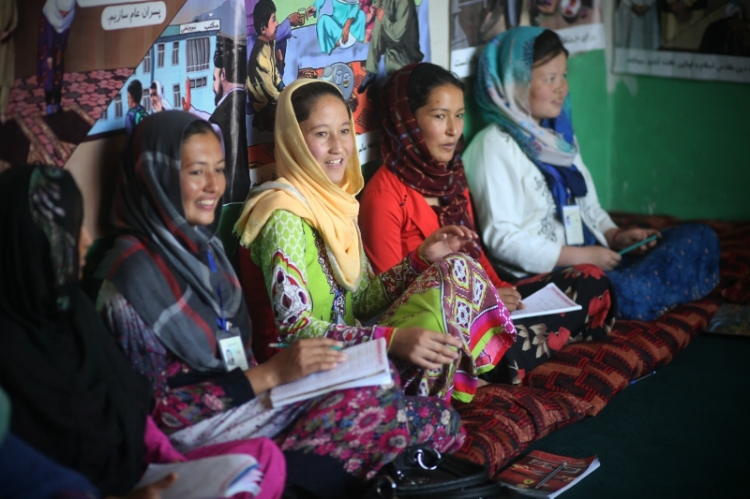 Photography by Rada Akbar/Women For Women International 2017. Women participant in numeracy class in the outskirts of Kabul.