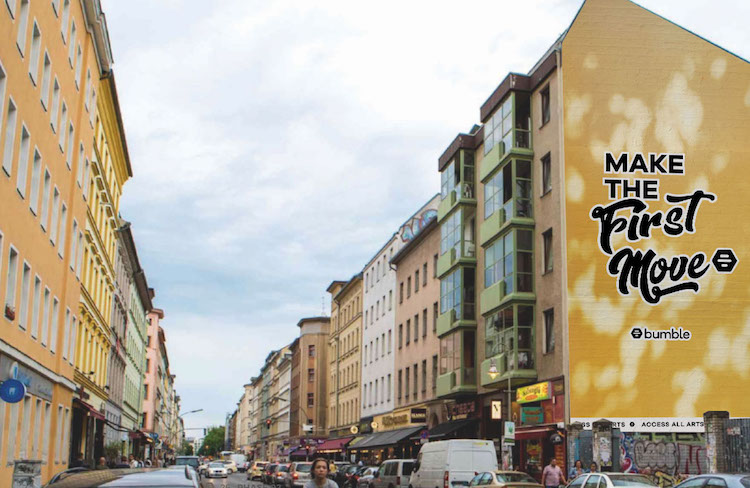 An artist's impression of the mural in its Berlin city center location