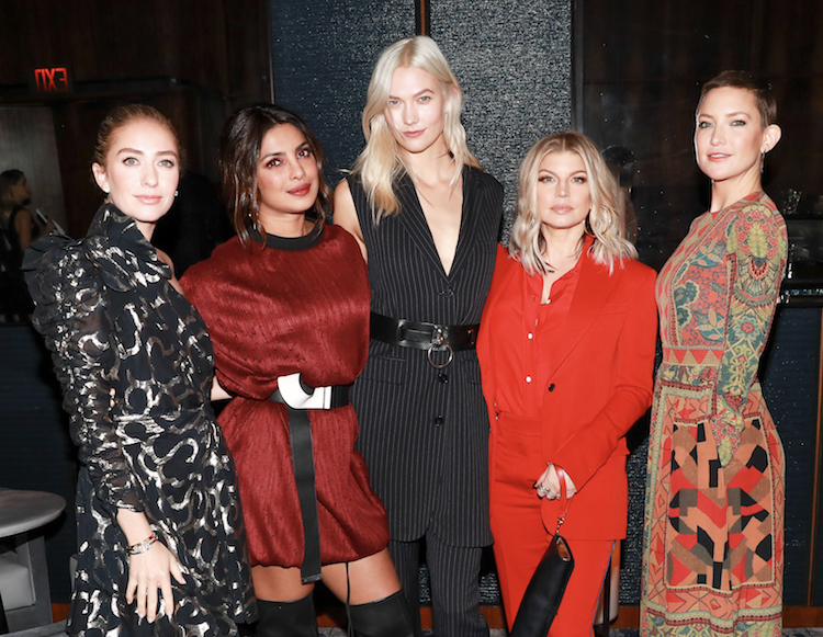 Whitney Wolfe Herd, left, with Priyanka Chopra, Karlie Kloss, Fergie, and Kate Hudson at a Bumble Bizz launch event.