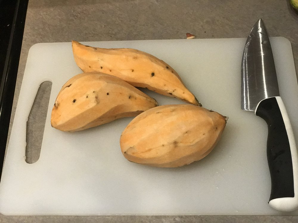 Next I washed and peeled a 3 lb bag of sweet potatoes, then cutting them into 1/4 inch pieces.