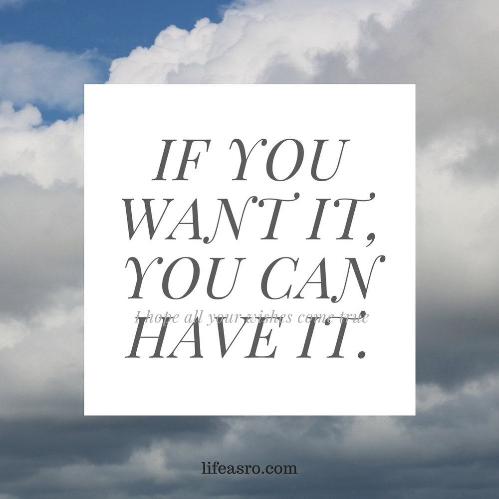 IF YOU WANT IT, YOU CAN HAVE IT..