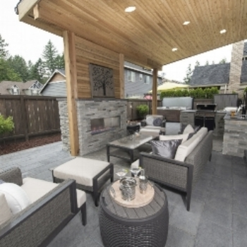 outdoor patio kitchen cedar ceiling veneer stone - Patio Kitchen