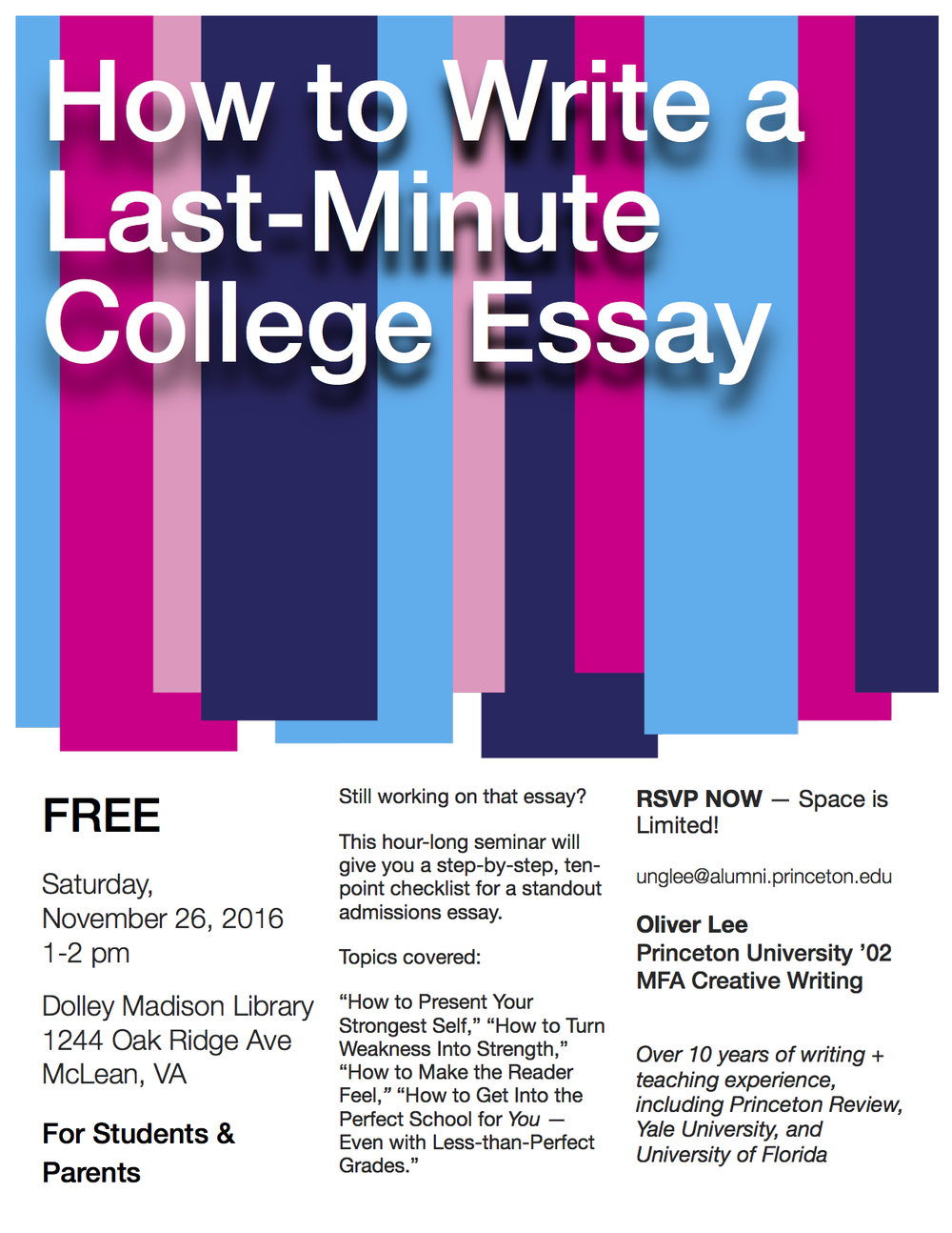 events essaysivyleague college essay writing seminar