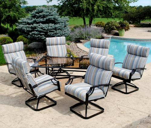 Cushioned dining set for Menards with a custom designed printed fabric  developed to look like a - Patio €� Betsy Repaske