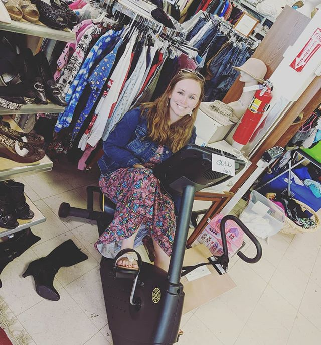Another happy customer! Leah is the Communications Coordinator at Healing Transitions, the non-profit homeless shelter and recovery program that Recovered Treasures supports. She was thrilled to find this barely used stationary bike for just $30 bucks! . . . #thriftstore #thriftstorefinds #shoplocalraleigh #raleighnc #wakecountync #northraleigh #wakeforestnc #nonprofit #nc #rtp