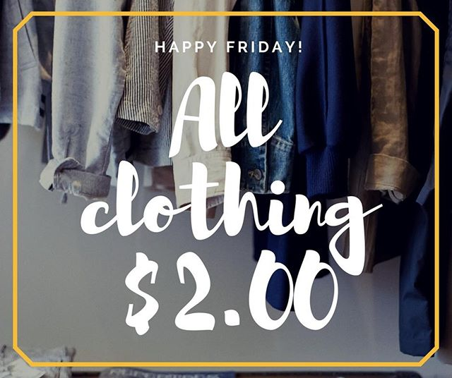 Friday means $2.00 clothes at Recovered Treasures! Hurry in! . . . #raleighsale #raleighnonprofit #raleighthriftstore #thriftstorefinds #raleighnc  #raleigh #wakeforestnc #shoplocalraleigh