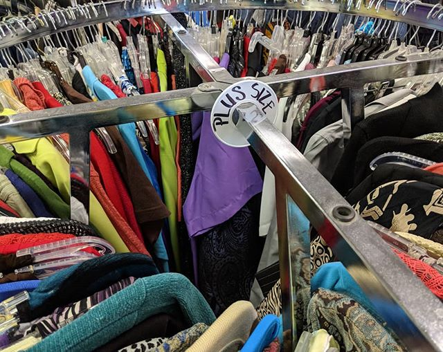 Looking for plus size clothes? We had boxes of like new - name brand - plus size clothing donated!  #shoplocalraleigh #raleighnonprofit #thriftstorefinds