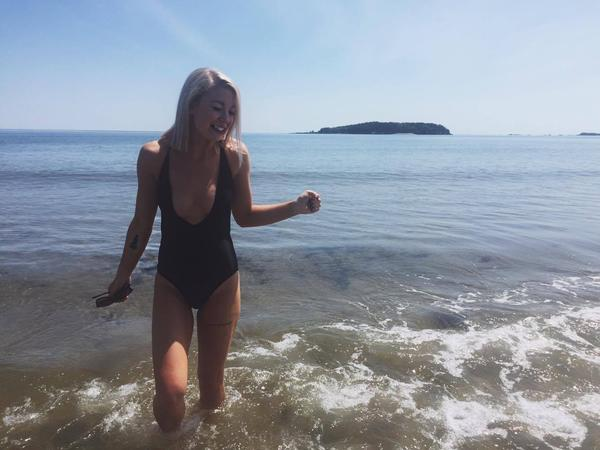 Alicia wearing the Stella swimsuit