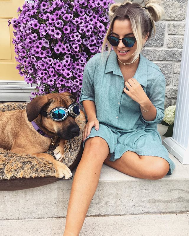 Nicoletta and her dog in Canada