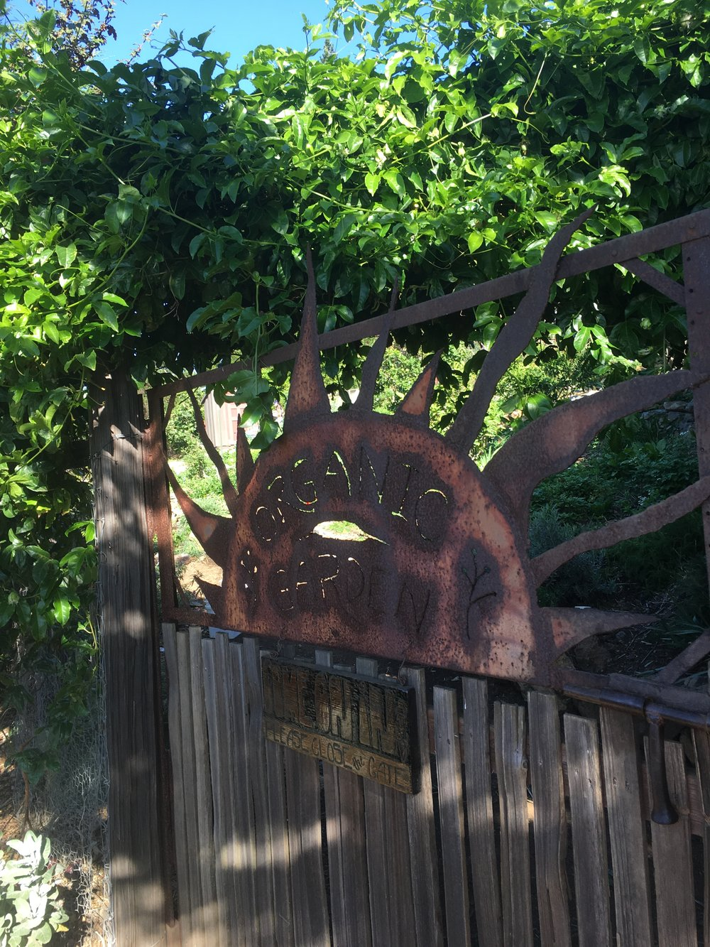 Hand-wrought gate from up-cycled material, Treebones, Big Sur