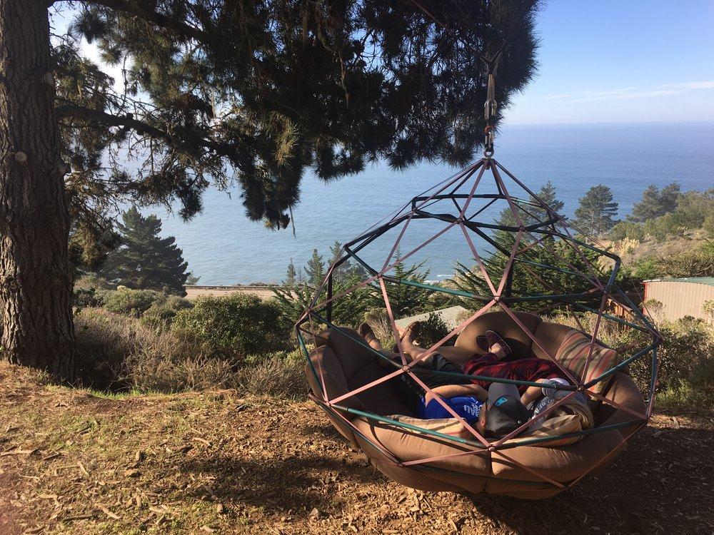 Morning snuggles on the swing, Treebones, Big Sur