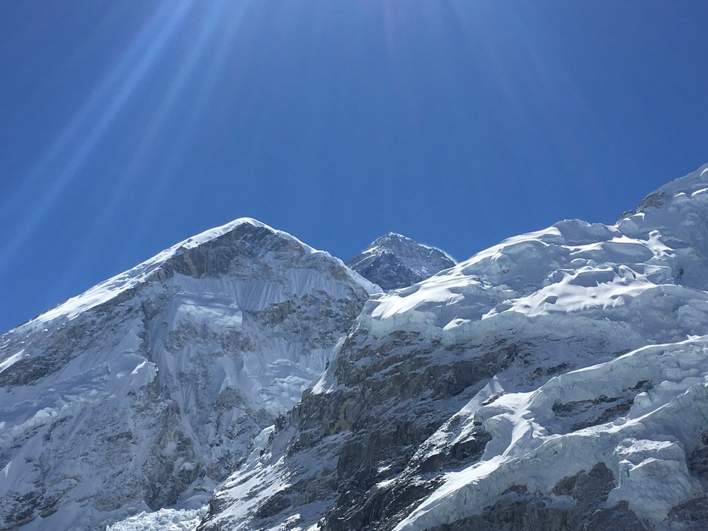 The top of Mount Everest, nestled in the middle