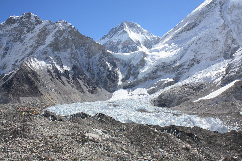 One photo showing the camp, the glacier, the ice falls, and the peak