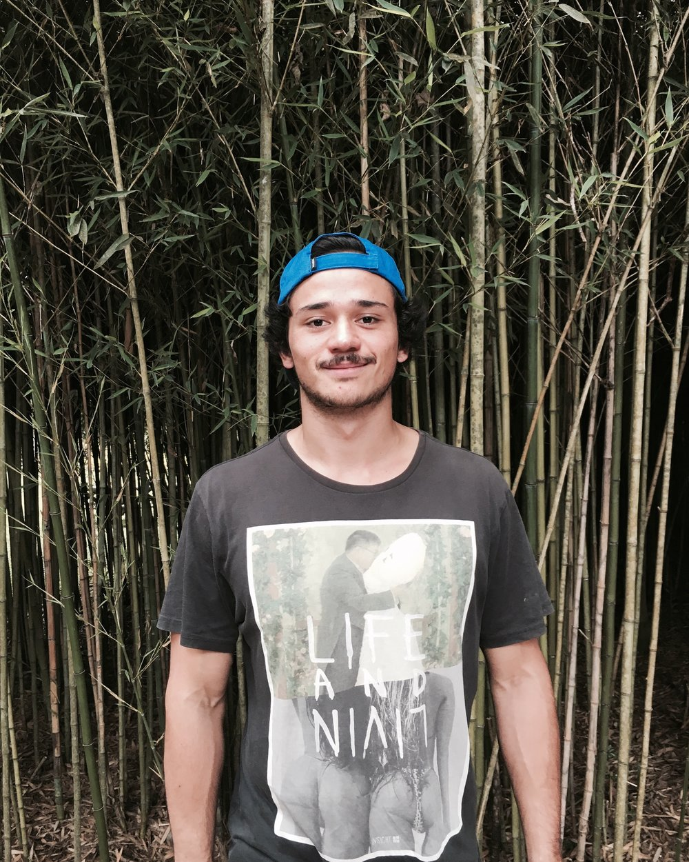 Sebastian in the bamboo forest.