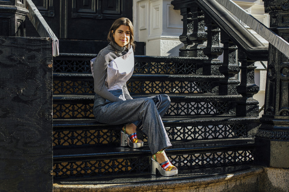 Layering pro, Leandra Medine styles rainbows around her feet.