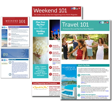 Email template redesign: Marin Magazine (old design is shown on left; Clean Line Design's work is shown on the right)