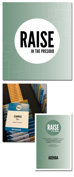 2017 signage, presentation templates, name badges, and all other materials for annual RAISE conference in San Francisco.