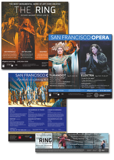 Design and production of all print ads for San Francisco Opera for ten years.