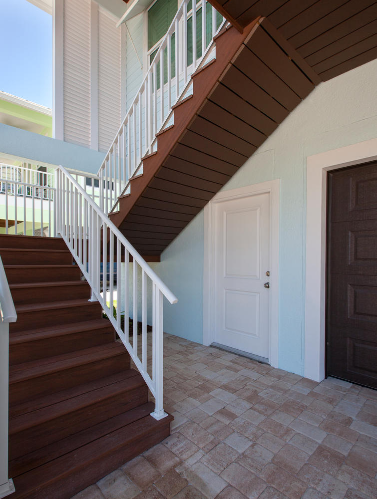 Outdoor Staircase in Pearl Street Cottage New Construction by Nease