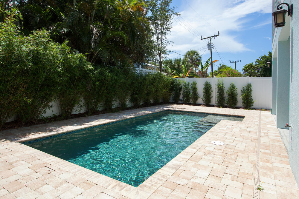 Backyard Pool in Pearl Street Cottage New Construction by Nease