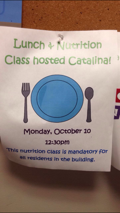 Rly cute sign I found inside the dining hall announcing my event!