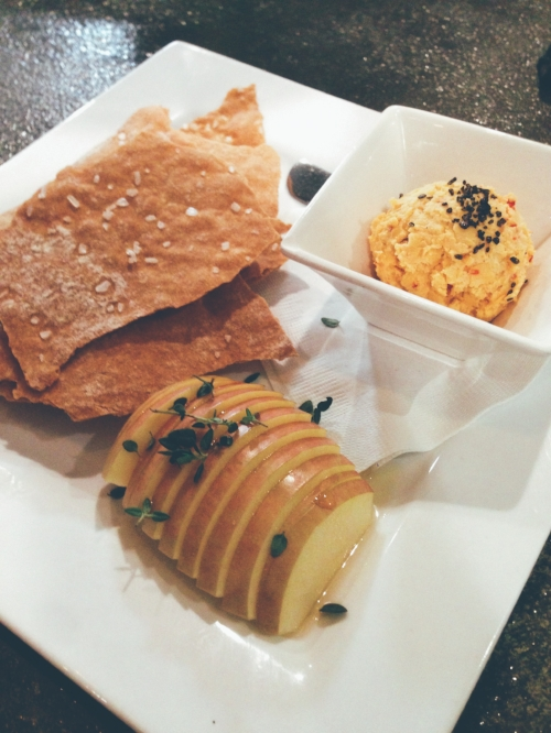 First up: Vegan pimento cheese dip with lavash crackers and sweetened apples with herbs.