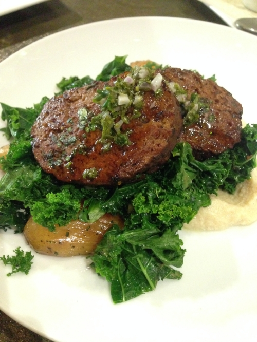 The hearty main, a vegan take on steak and potatoes: Seitan steaks with sauteed kale, grilled fingerling potatoes, and a celeriac puree.