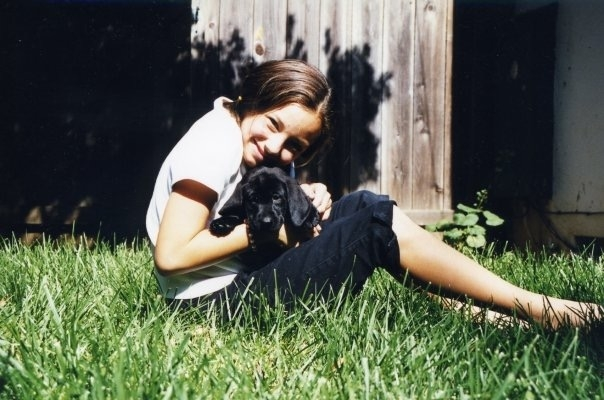 With our first dog, Shakira, with the worlds best ears. She was my first love. She died suddenly and too soon at age 5, after a short but spectacular life. I still miss her.