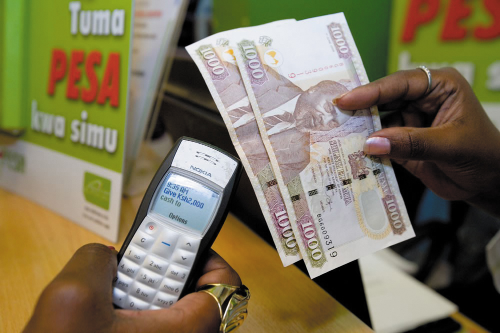 An M-Pesa mobile money transaction in Kenya, 2012.  Source: Rachel Hinman, Rosenfeld Media