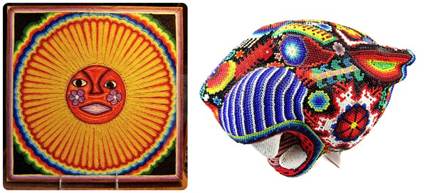 Huichol Art, thread painting on left and beaded art on the right.