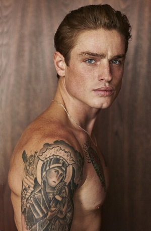 This shirtless, brooding model  is a good likeness for Calor