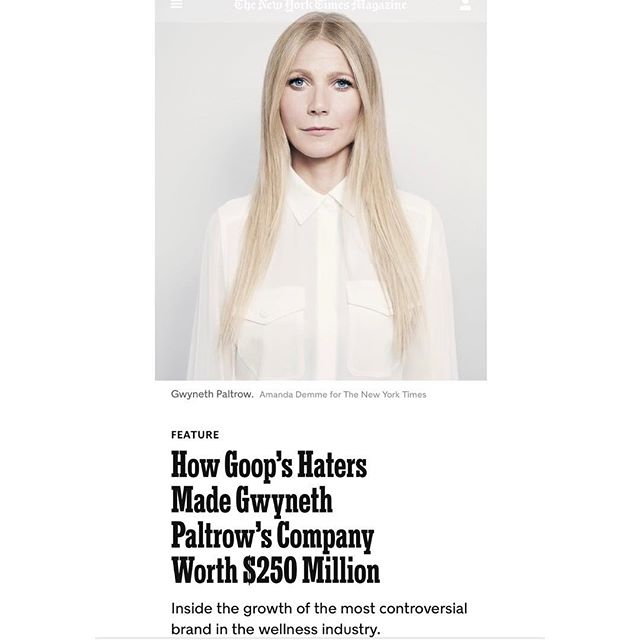 QUESTION - what are your thoughts on Goop?  Do you follow them?  Do you even care what they have to say about wellness ?  I found the recent NYT article on G.P. + her massive influence machine really fascinating.  The growth alone in the last few years is mind boggling - but are people really listening to new ways to practice self-care or only yearning to be like The Gal herself?  I would love to know what you all think! 💡 #wellnesscommunity #goop #QandA (link to actual article in profile)