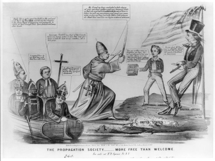 Anti-Catholic cartoon circa 1855 via the Library of Congress